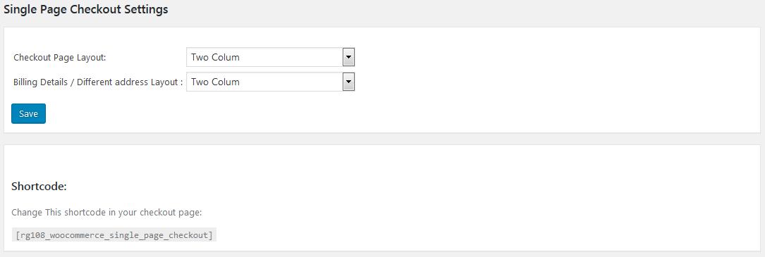 Single Page Checkout Settings